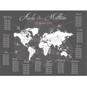 Plan de table sur Plexiglass transparent - Voyage Carte du monde