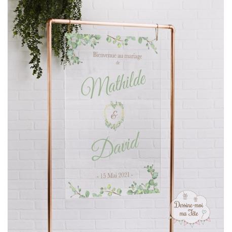 Tableau de bienvenue mariage Plexiglass transparent - Végétal