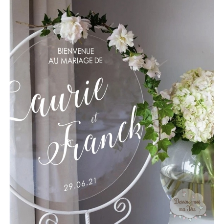 Tableau de bienvenue mariage Plexiglass rond - Calligraphie