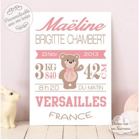 """Affiche / Tableau de Naissance personnalisé - """"Ourson fille"""""""