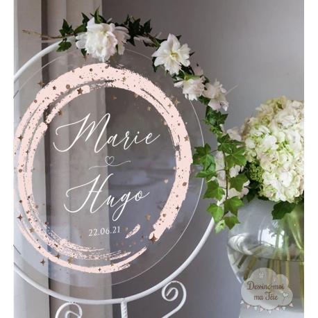 Tableau de bienvenue mariage Plexiglass rond - Aquarelle