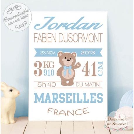 """Affiche / Tableau de Naissance personnalisé - """"Ourson garçon"""""""