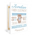 """Tableau de Naissance personnalisé SUR TOILE - """"Ourson garçon"""""""