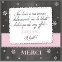 """Carte Remerciement de naissance fille - """"ardoise flocons"""""""