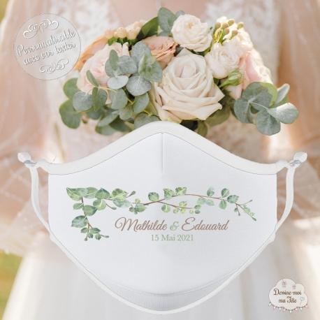 Masque personnalisé mariage réutilisable (catégorie 1) - Végétal Nature