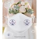 Masque personnalisé mariage réutilisable (catégorie 1) - Marin / de la Mer