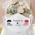Masque personnalisé mariage réutilisable (catégorie 1) - Mr & Mrs