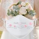 Masque personnalisé mariage réutilisable (catégorie 1) - coeurs ligne