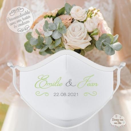 Masque personnalisé mariage réutilisable (catégorie 1) - Calligraphie Prénoms