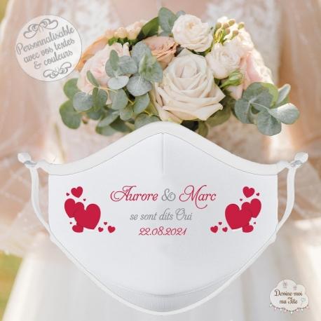 Masque personnalisé mariage réutilisable (catégorie 1) - coeurs