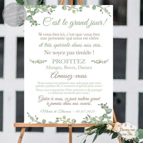 """Tableau de Bienvenue Mariage """"Merci Végétal"""" personnalisé"""