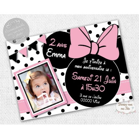 carte d'invitation Anniversaire - Minnie blanc