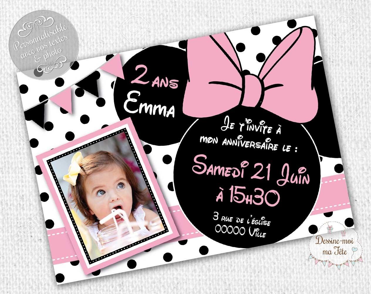 Invitation Anniversaire Minnie Personnalisee Blanc