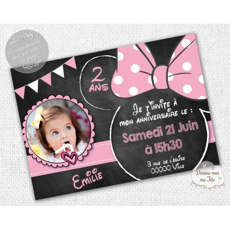 "carte d'invitation Anniversaire - ""Minnie Ardoise"""