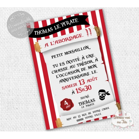 Invitation Anniversaire Theme Pirates Personnalisee