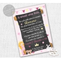 Carte d'invitation Anniversaire - Princesse Rose