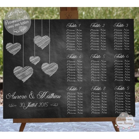plan de table ardoise mariage plan de table ardoise personnalis e c ur. Black Bedroom Furniture Sets. Home Design Ideas