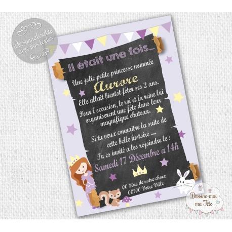 Carte d'invitation Anniversaire - Princesse Violet