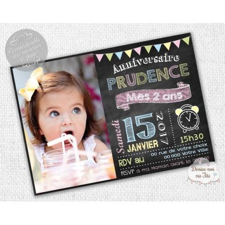 Carte d'invitation Anniversaire - Ardoise Fille