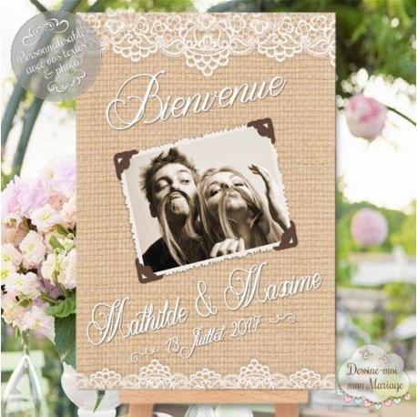"""Tableau de Bienvenue Mariage """"Rustique chic"""" personnalisé"""