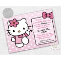 "carte d'invitation Anniversaire - ""Hello Kitty Rose"""
