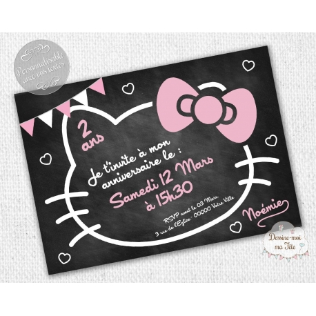 "carte d'invitation Anniversaire - ""Hello Kitty Ardoise"""