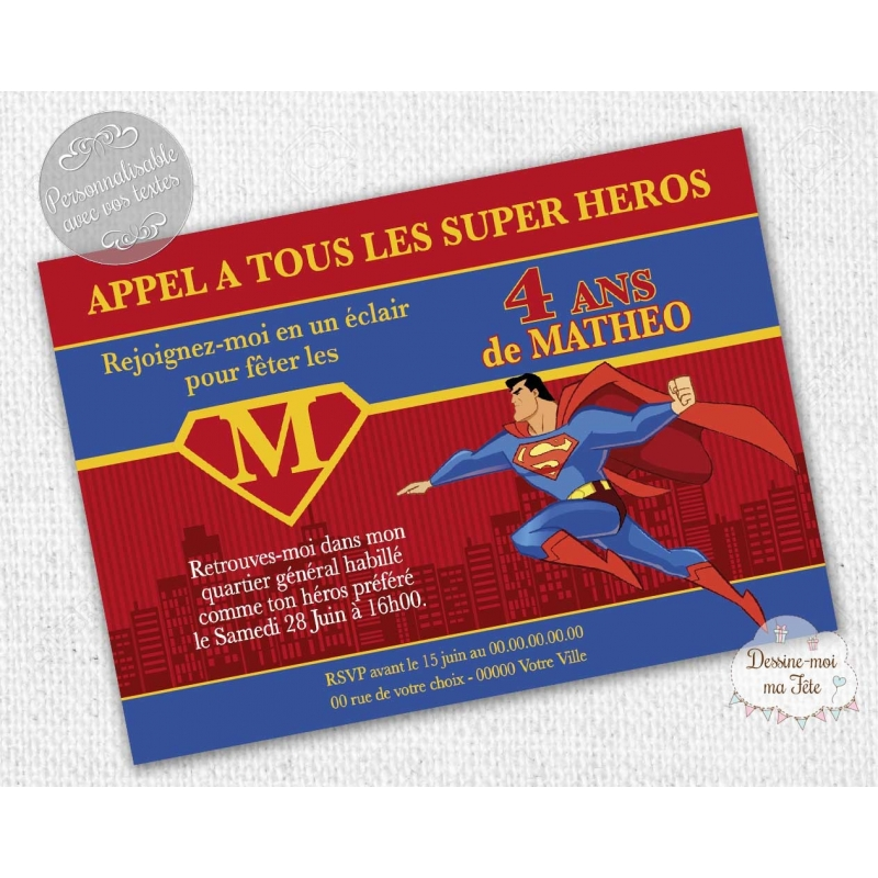 Invitation anniversaire th me superman super h ros personnalis e - Carte anniversaire super heros ...