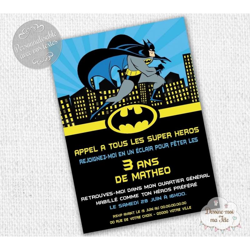 Invitation anniversaire th me batman super h ros - Deco pour anniversaire batman ...