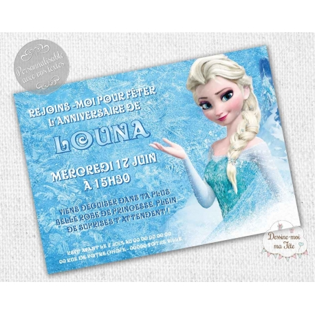 Invitation anniversaire reine des neiges personnalise carte dinvitation anniversaire reine des neiges stopboris Images