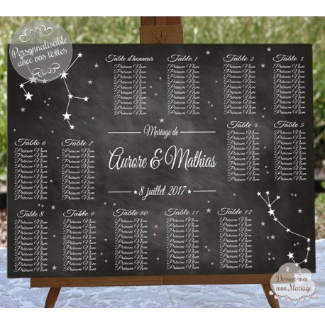 plan de table mariage personnalis constellation d 39 toiles. Black Bedroom Furniture Sets. Home Design Ideas