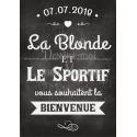 """Tableau de Bienvenue Mariage """"la blonde et le barbu"""" personnalisé"""