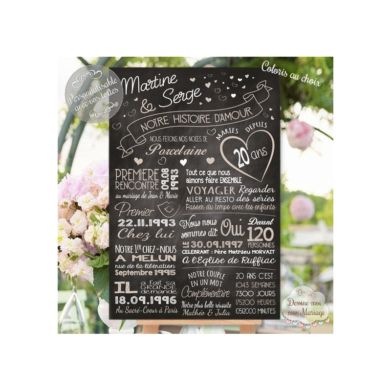 tableau d 39 anniversaire de mariage personnalis ardoise 1. Black Bedroom Furniture Sets. Home Design Ideas