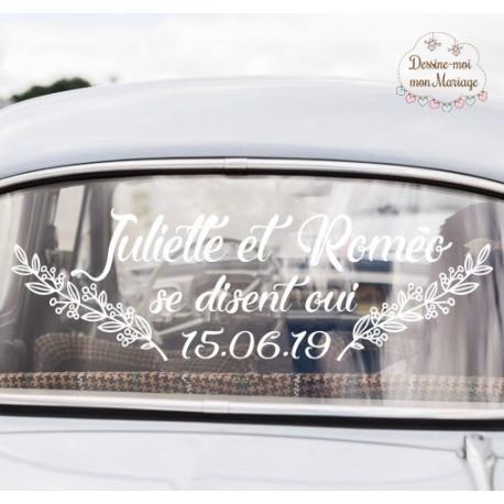 """Stickers de voiture mariage personnalisé - """"Branches"""""""