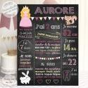 """Affiche / Tableau Anniversaire personnalisé """"Princesse Ardoise rose"""""""