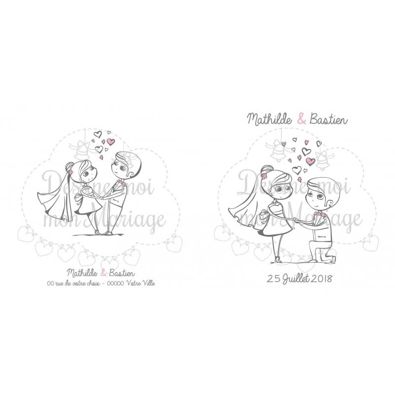 Souvent Faire-part de mariage - Illustration couple de mariés EB53