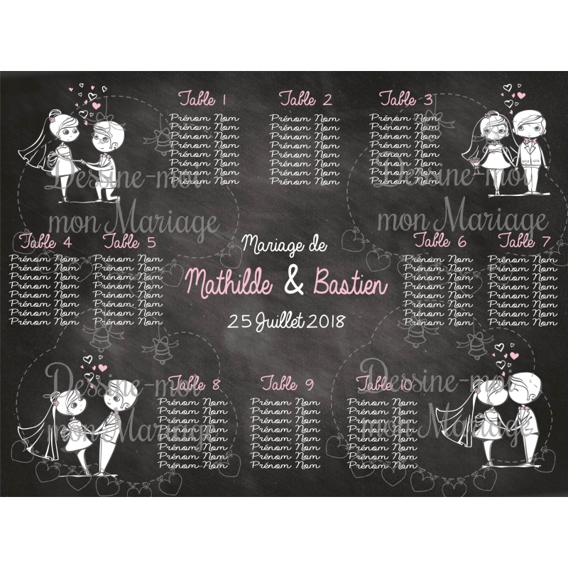 plan de table mariage personnalis couple mari s ardoise 2. Black Bedroom Furniture Sets. Home Design Ideas