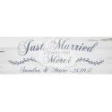 """Pancarte Mariage """"Just Married"""" BOIS BLANC personnalisé"""