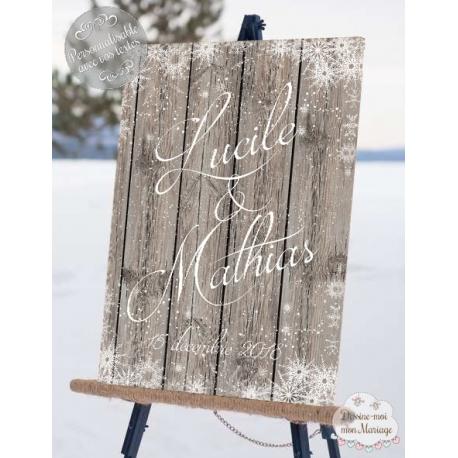 """Tableau de Bienvenue Mariage """"Hiver sous la neige"""" personnalisé"""