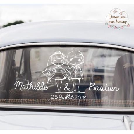 """Stickers de voiture mariage personnalisé - """"Couples mariés"""""""