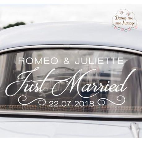 "Stickers de voiture mariage personnalisé - ""Just Married"""