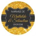 """Autocollants mariage personnalisés - """"Mariage doré, en or"""""""