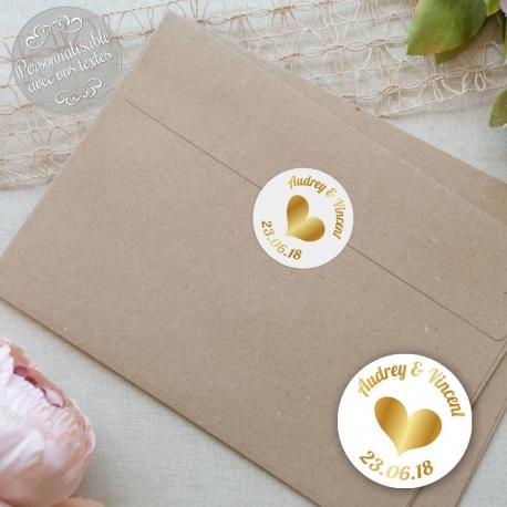 """Autocollants mariage personnalisés - """"Coeur doré, en or"""""""