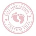 """24 Autocollants naissance personnalisés - """"Fait avec amour"""""""