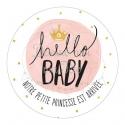 """24 Autocollants naissance personnalisés - """"aquarelle princesse"""""""