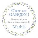 """24 Autocollants naissance personnalisés - """"Liberty garçon"""""""