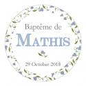 """24 Autocollants baptême personnalisés - """"liberty"""" garçon"""