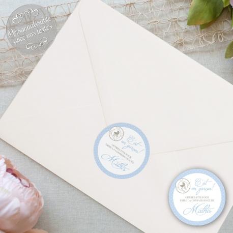 """24 Autocollants naissance personnalisés - """"Certificat naissance garçon"""""""