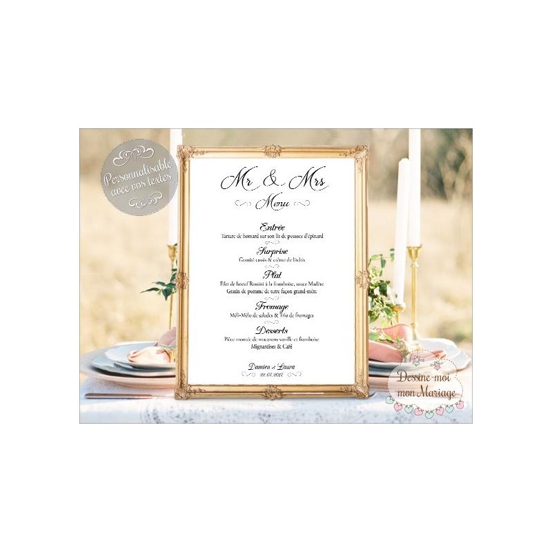 Tableau de menu mariage personnalis minimaliste blanc for Tableau minimaliste