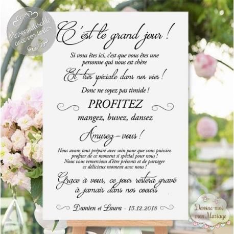 "Tableau de Bienvenue Mariage ""Merci minimaliste"" personnalisé"