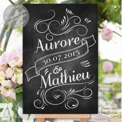"""Tableau de Bienvenue Mariage """"Prénoms ardoise"""" personnalisé"""